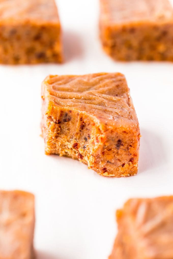 Close-up of a peanut butter fudge, a bite has been taken from it.