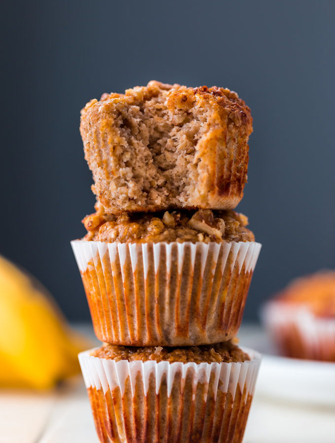 3 banana muffins on top of each other.