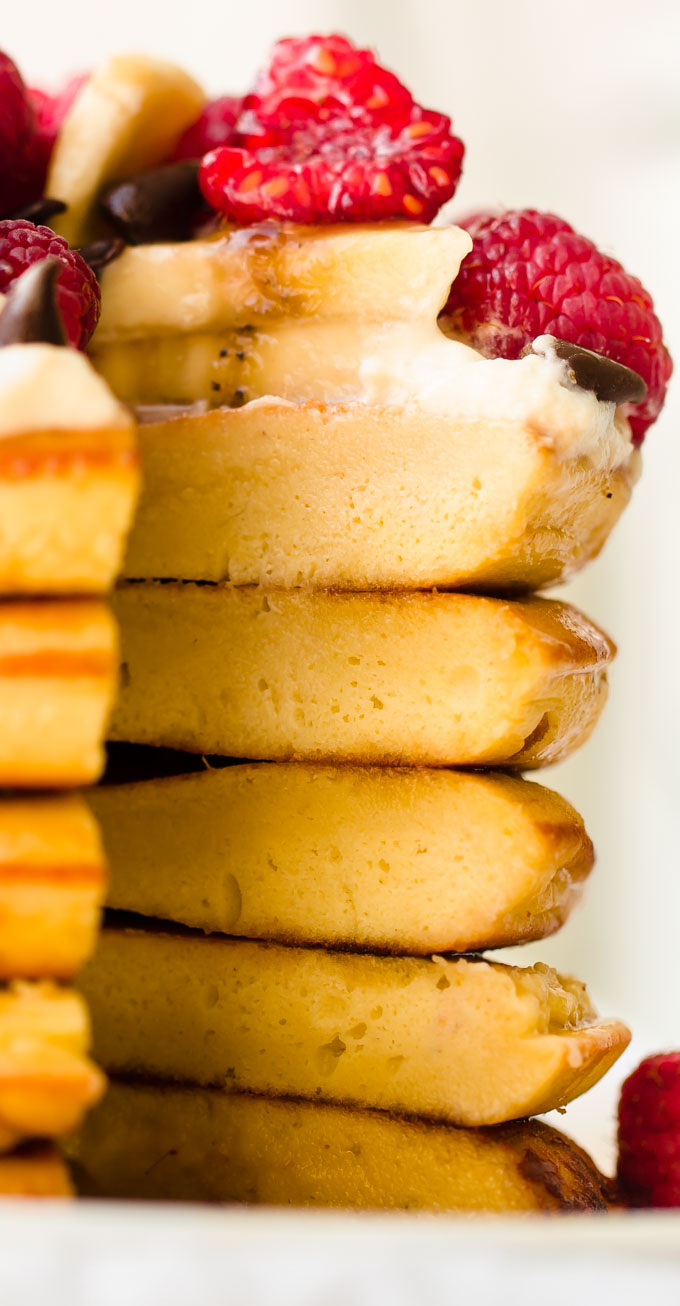 Close-up of a stack of pancakes.