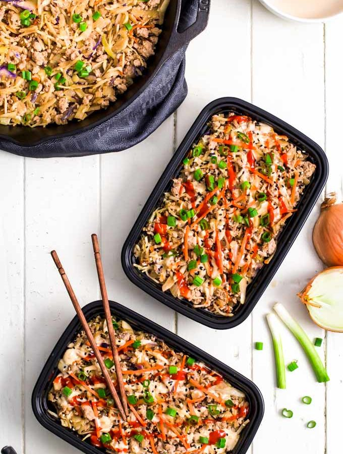 Egg roll in a bowl in meal prep containers