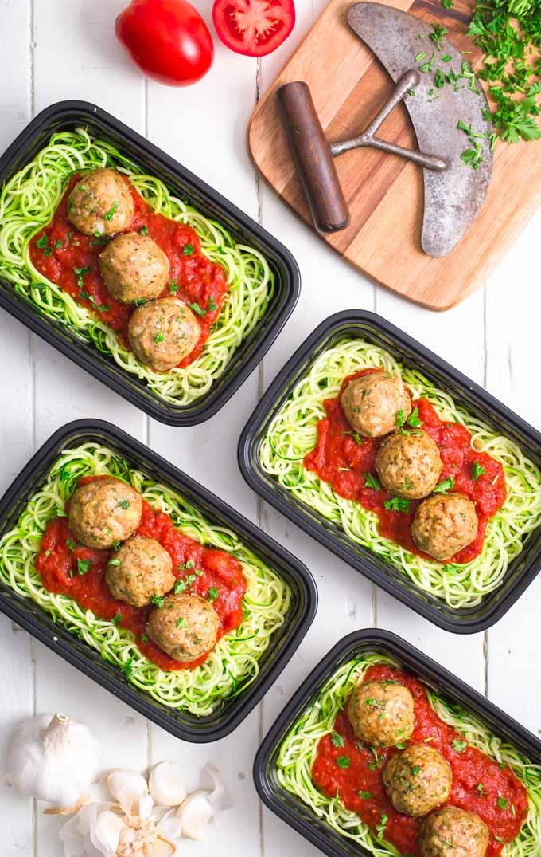 Whole30 turkey meatballs on zucchini noodles and marinara sauce.