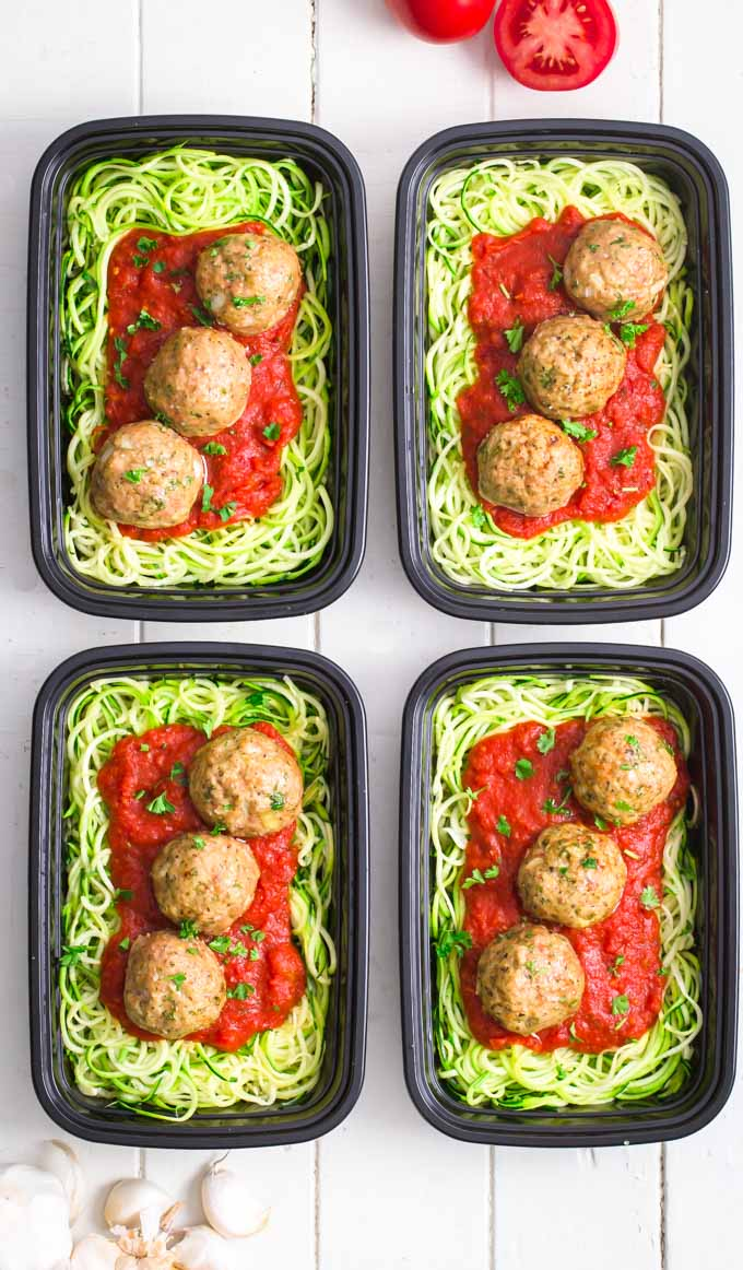 Whole30 turkey meatballs on zucchini noodles and marinara sauce.