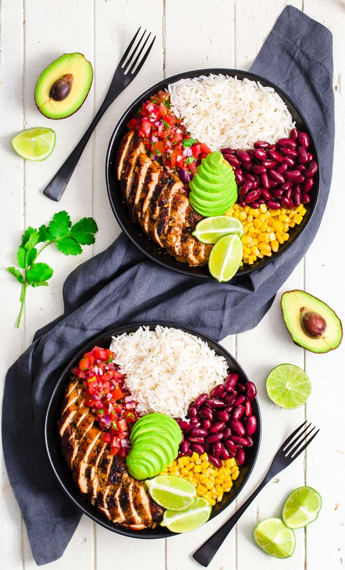 Two burrito meal prep bowls