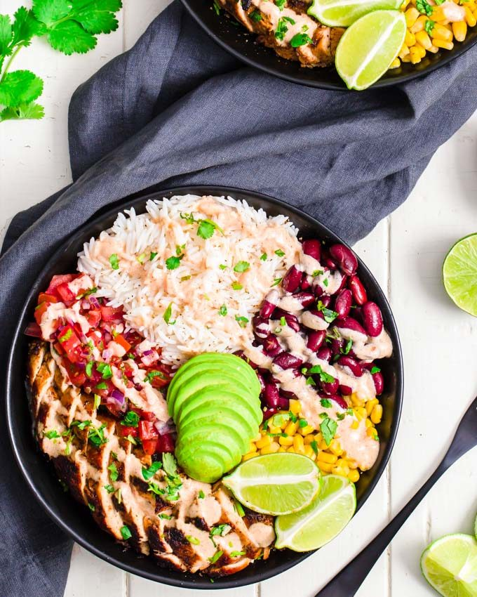 Close up of a burrito bowl meal prep