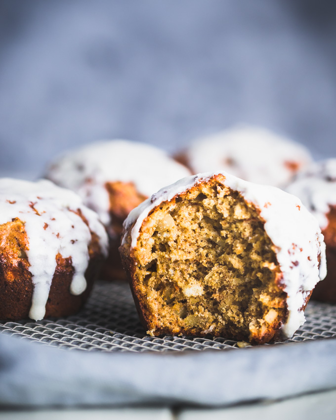 Carrot Cake Protein Muffins on a cooling rack