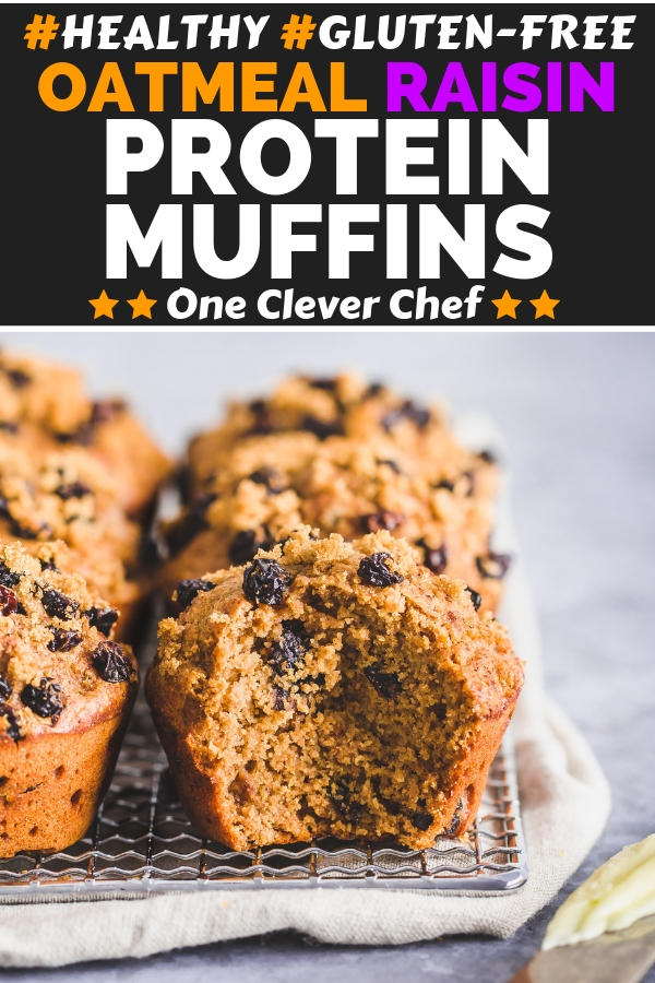 Oatmeal Raisin Protein Muffins pin image