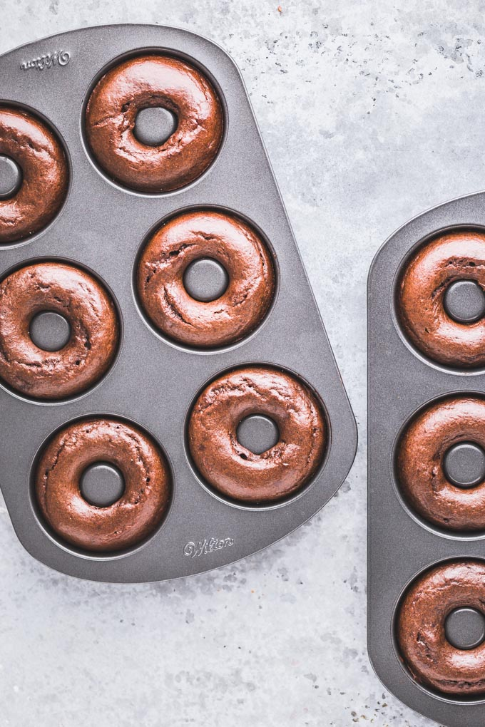 Chocolate protein donuts in two donut pans