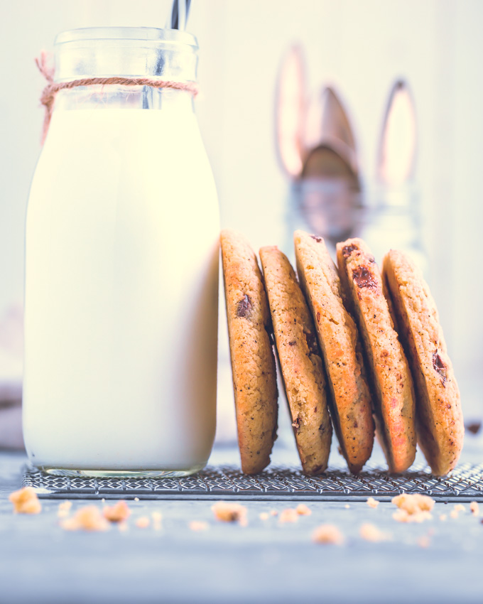 Chocolate Chip Protein Cookies and a jug of milk