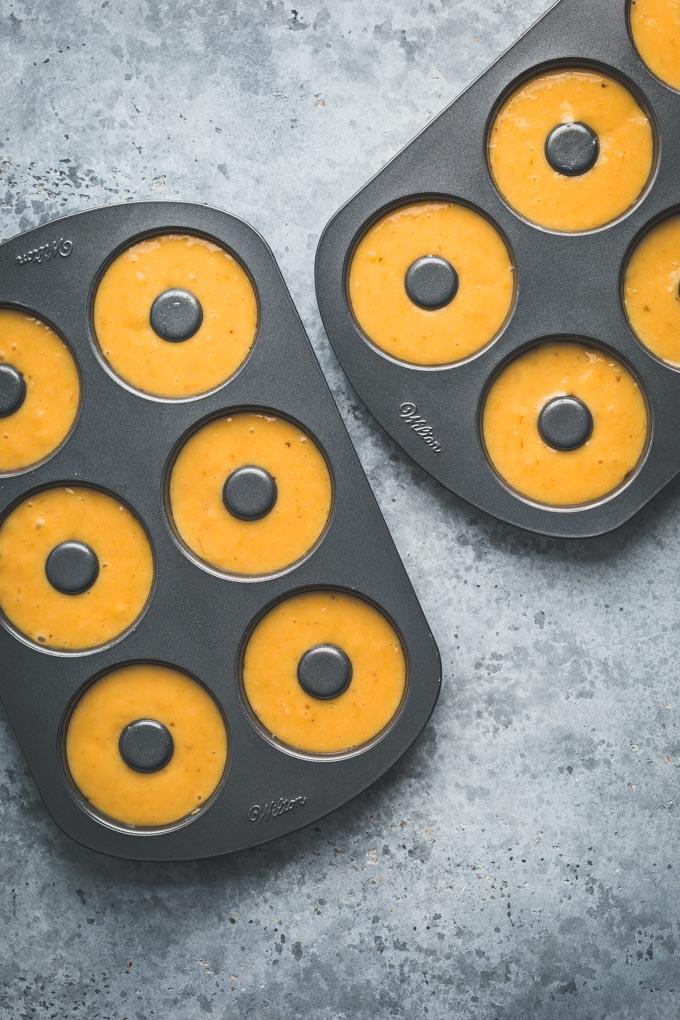 Baked Donut dough in donut pans