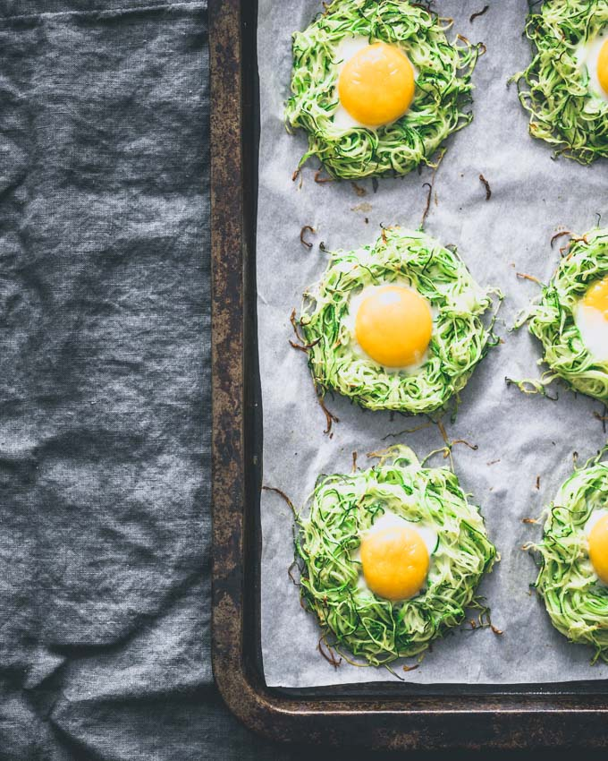 Zucchini egg nests on a sheet pan