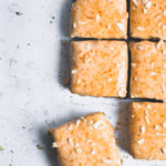 Caramel oatmeal protein bars on a white background