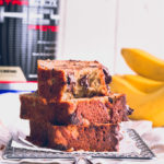 3 slices of protein banana bread stacked