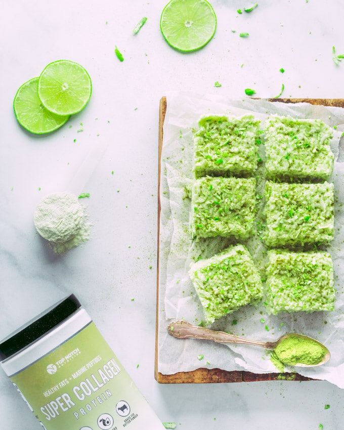 Keto Matcha Lime Fat Bombs on a wooden cutting board