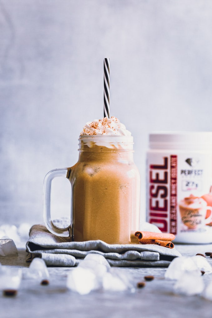 Cold Pumpkin Spice Protein Latte in a mug