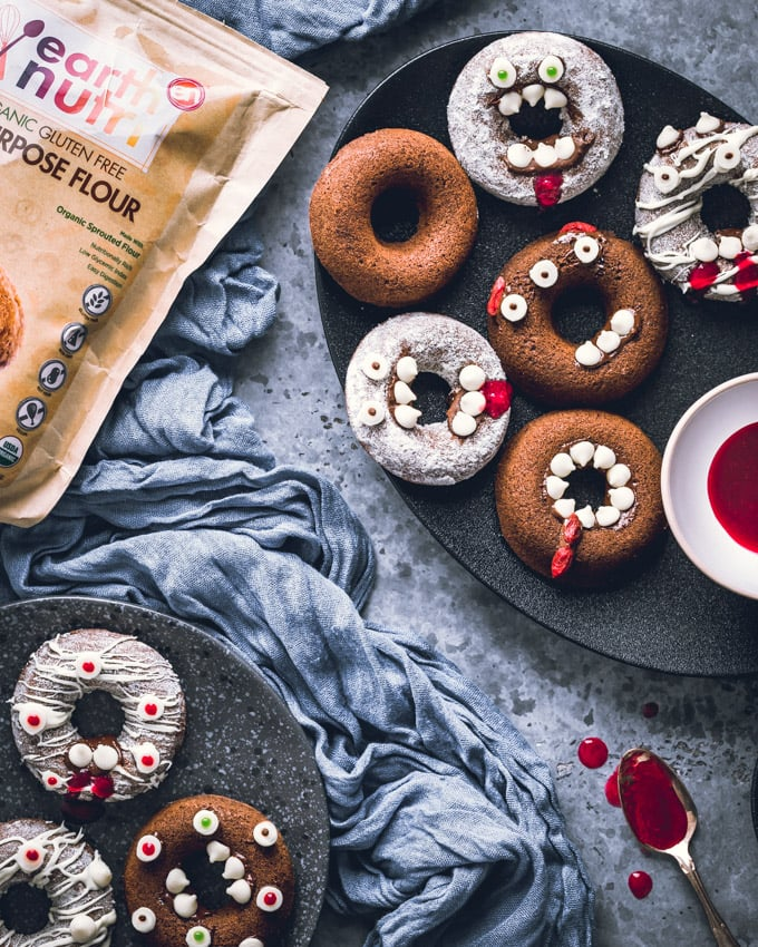 Monster-Shaped, Healthy Baked Halloween Donuts
