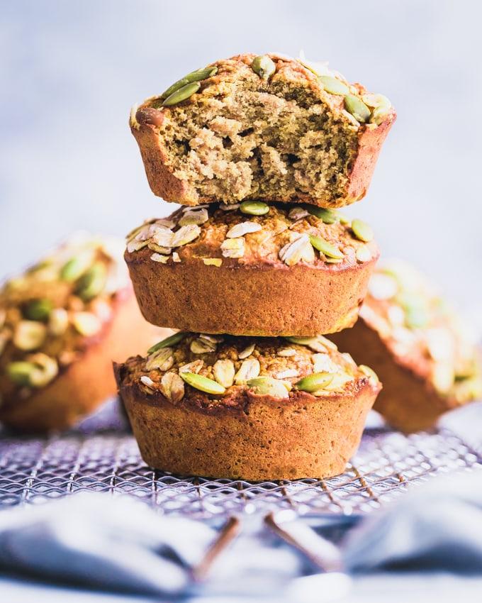 Pumpkin Protein Muffins stacked
