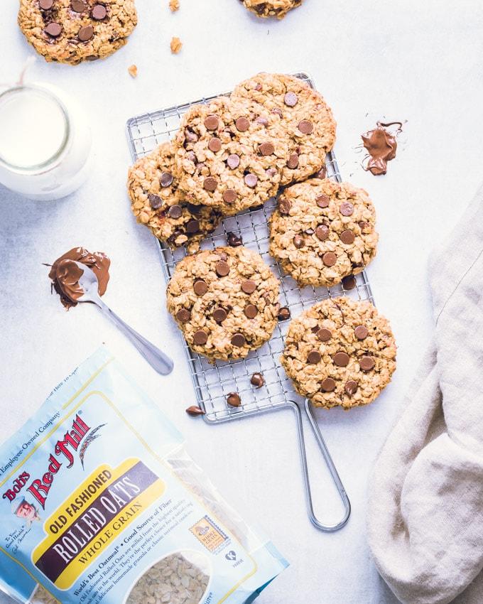 3-ingredient breakfast cookies on a cooling rack
