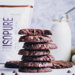 Double chocolate protein cookies, stacked
