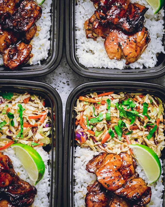 Chicken thighs meal prep bowls