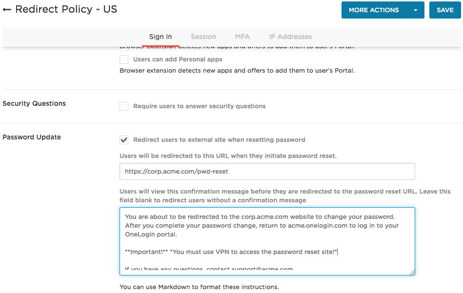 policy page with password reset redirect fields showing