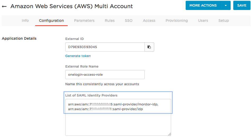 aws multi account idp list