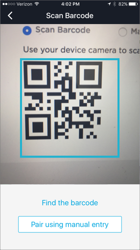 from the scan barcode screen use your ios device camera to scan the barcode on the add 2factor method dialog that is still open on your browser