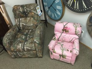 Camo chair, Reg: $879 Tent Sale: $439. Pink Chair, Reg $399 Tent Sale: $188