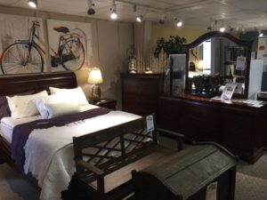Dresser, mirror, chest, 2 night tables, complete Q bed: Reg $4450 Tent Sale: $1998