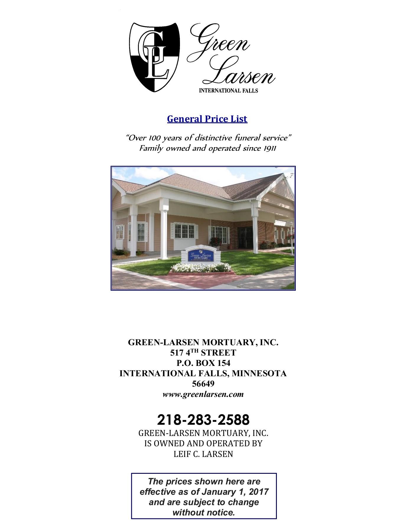 Pricing | Green-Larsen Mortuary, Inc - International Falls, MN