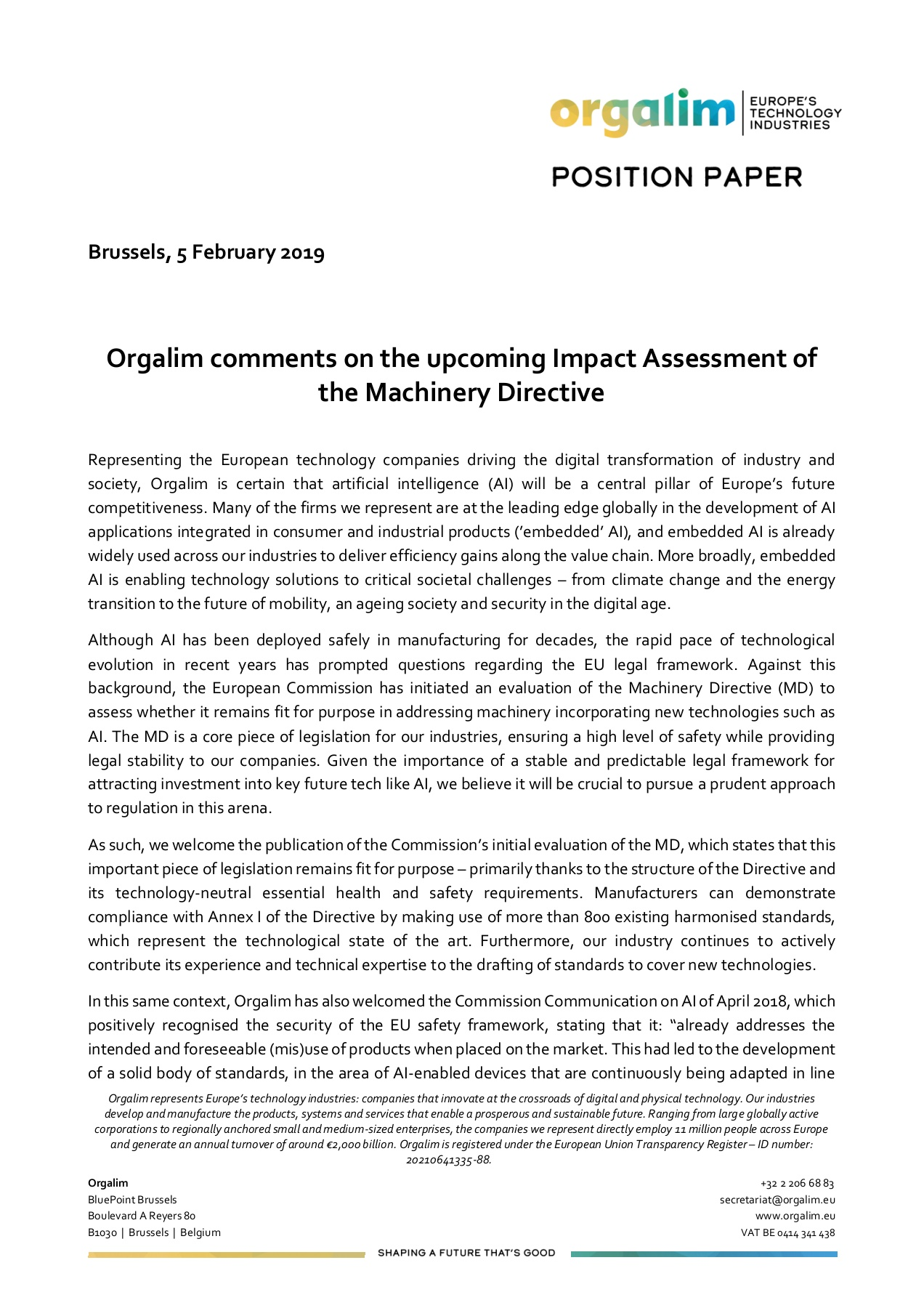 Orgalim Comments On The Upcoming Impact Assessment Of The Machinery
