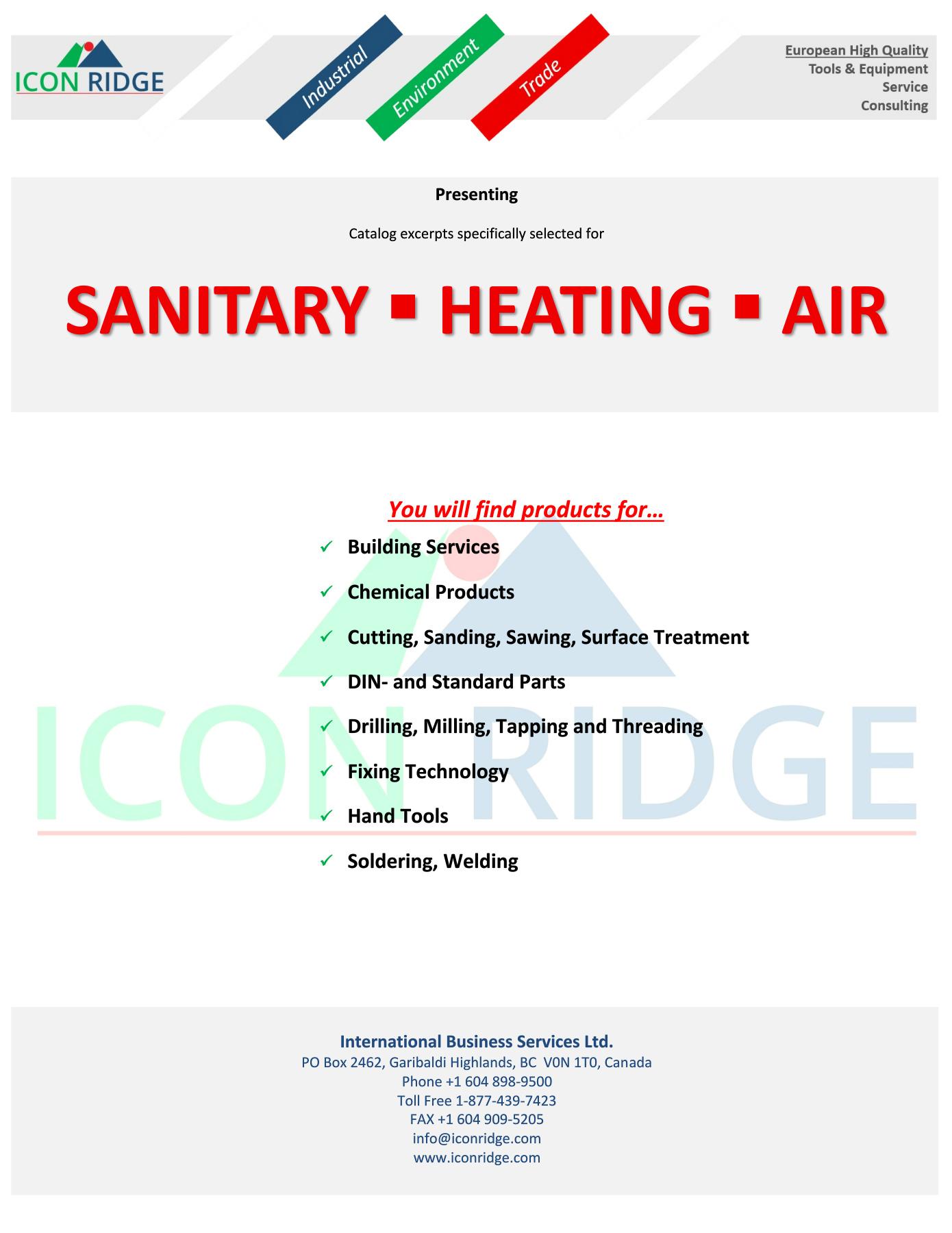 Icon Ridge SANITARY-HEATING-AIR Catalog