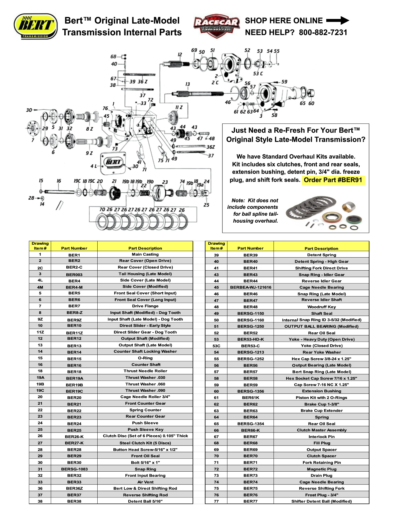 Tech-Transmission Bert Original Late-Model Exploded Parts