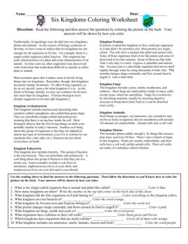 Worksheet 6 Kingdoms Worksheet name hour six kingdoms coloring worksheet