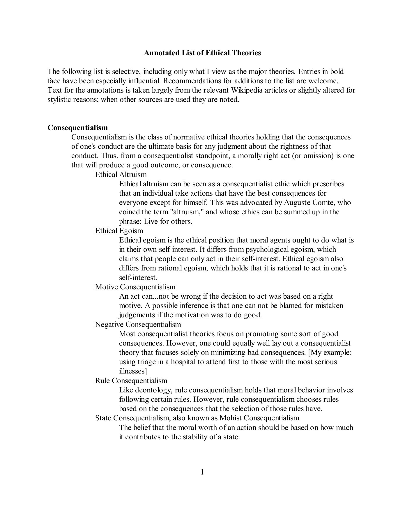 list of ethical theories
