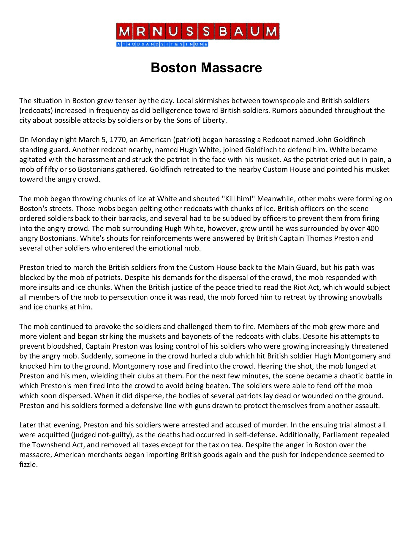 boston massacre mrnussbaum com a free learning world