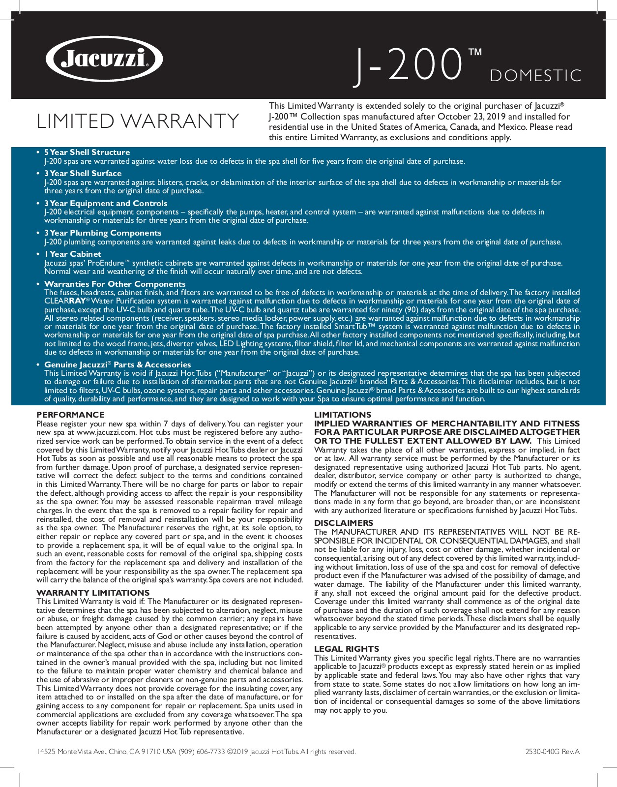 J-200 Jacuzzi Collection - Warranty & Protection Information