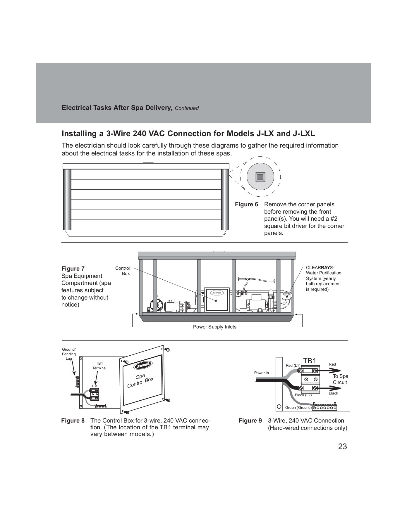 Jacuzzi Hot Tubs Electrical Guide J Lx Lxl Tub Wiring Diagram