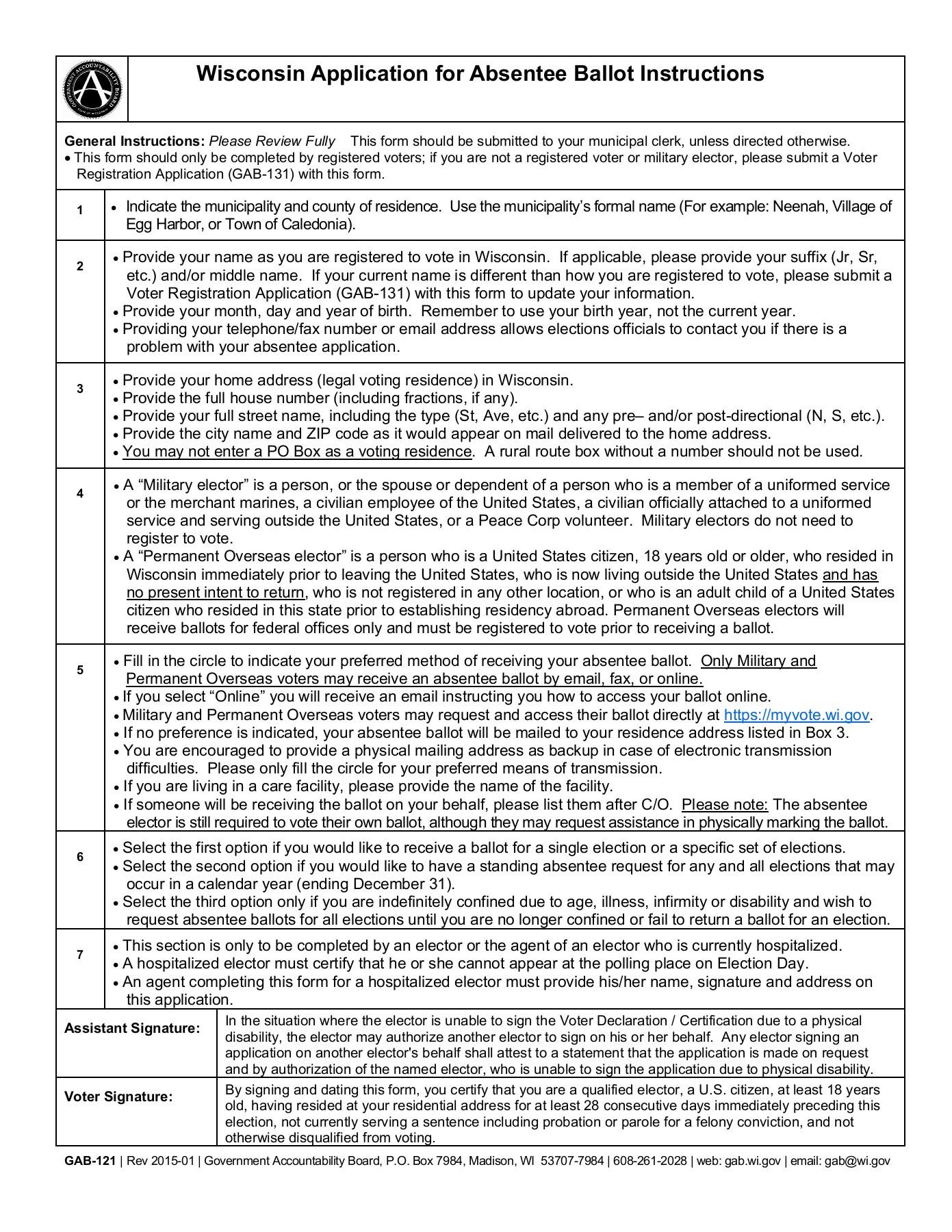 wisconsin application for absentee ballot gab 121