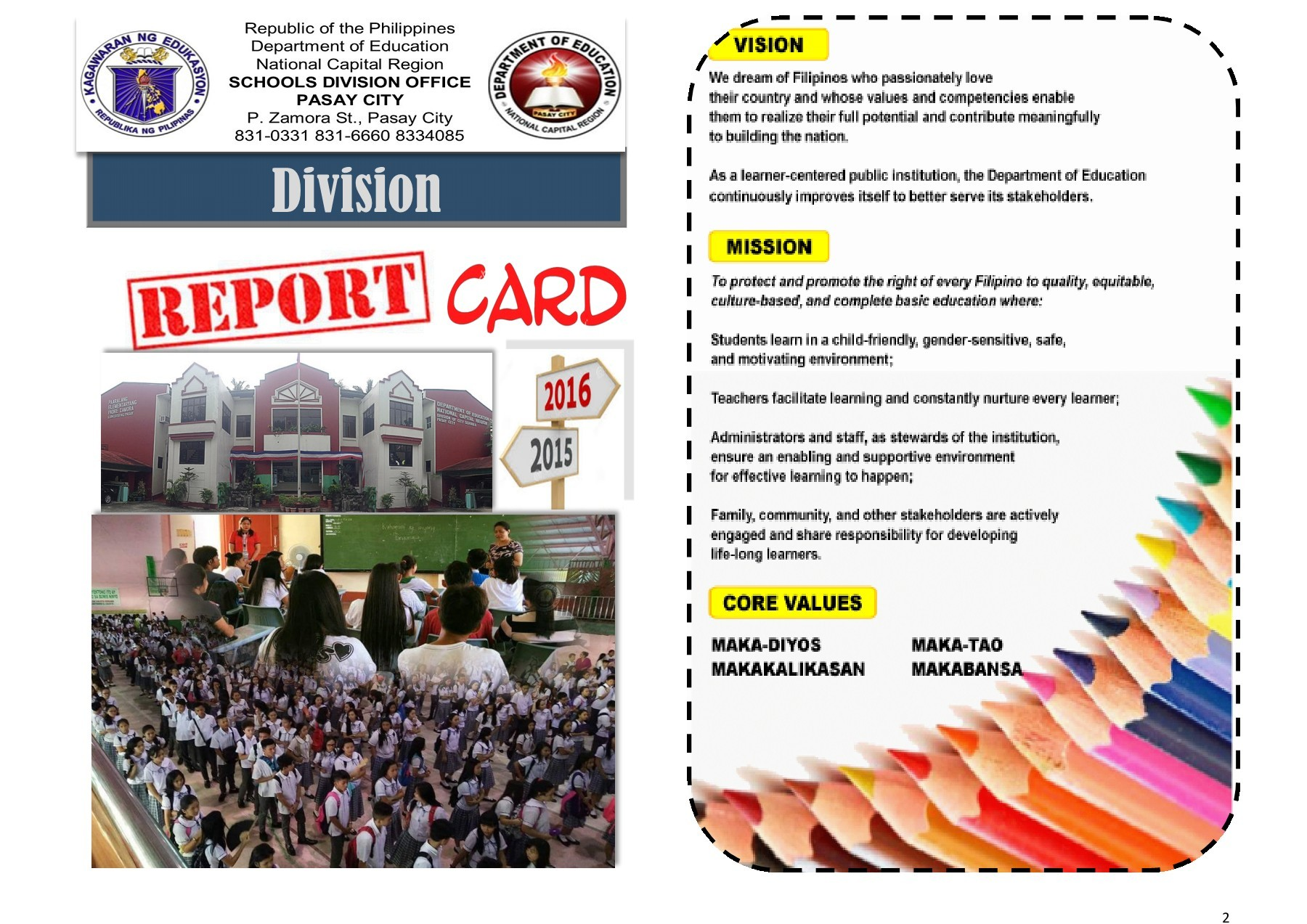 deped school report card 2018  Division Report Card – DepEd Pasay City