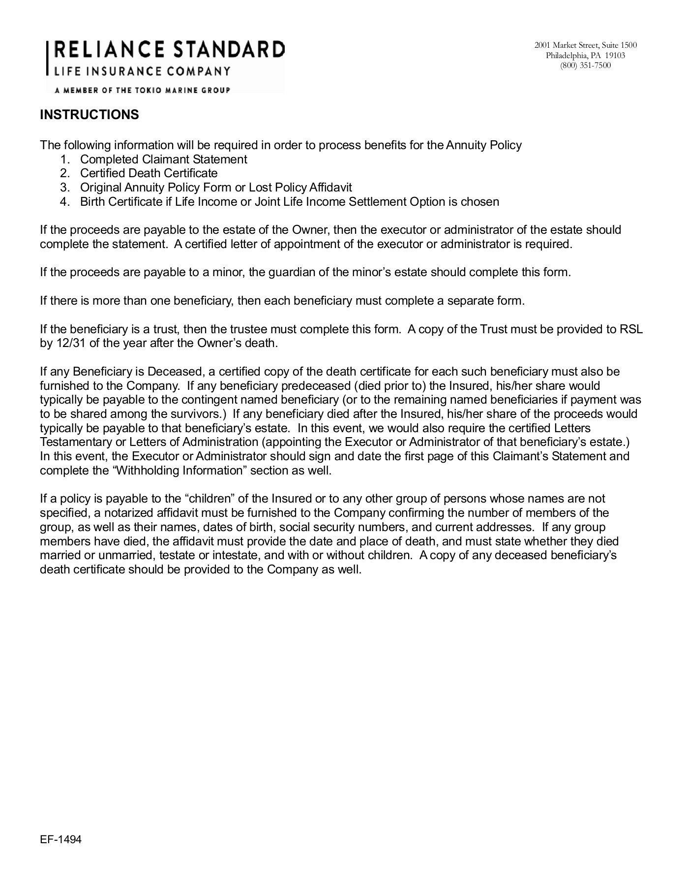 beneficiary designation predetermined settlement option