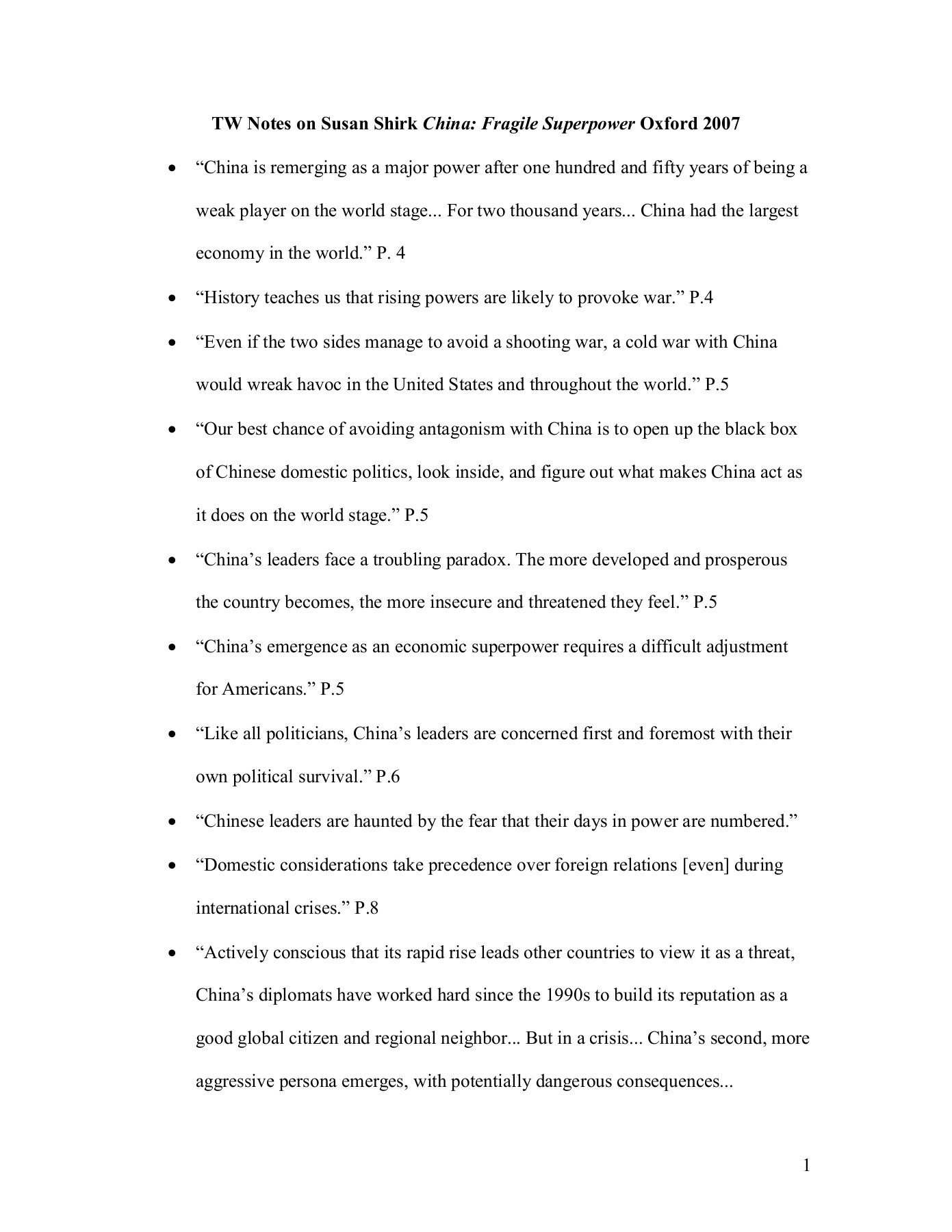 TW Notes on Susan Shirk China: Fragile Superpower Oxford 2007   FlipHTML5