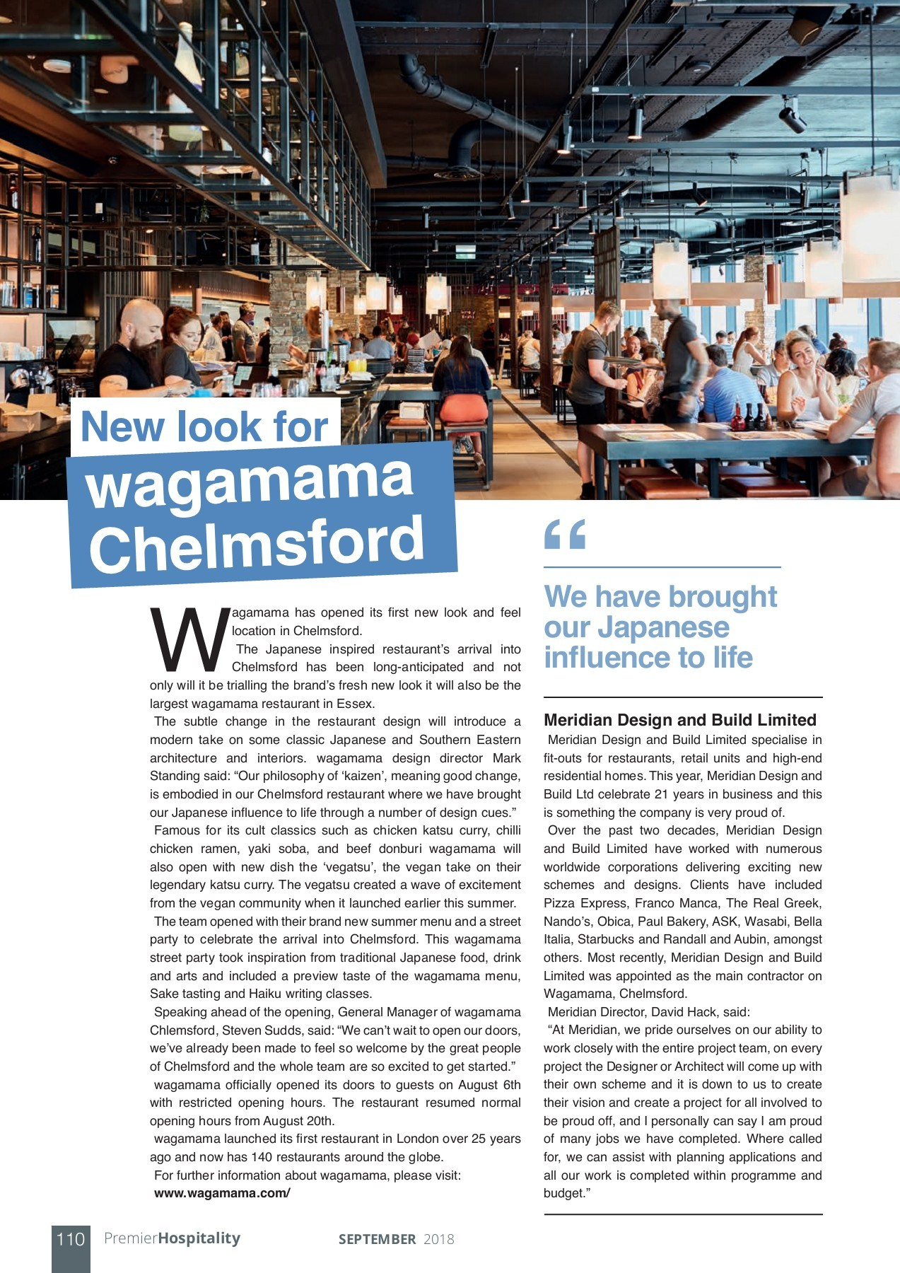 Wagamama Chelmsford Premier Construction News