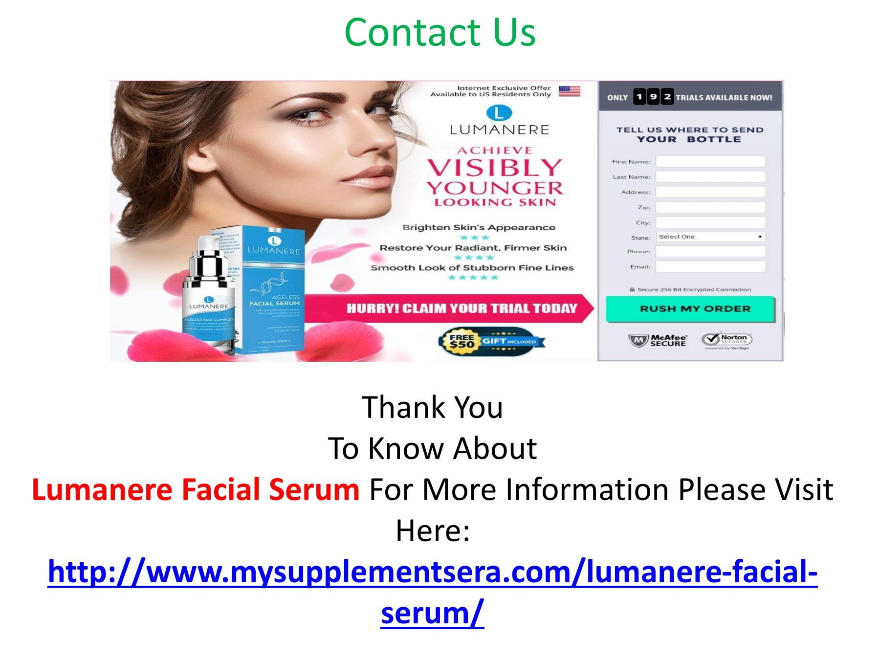 Lumanere Facial Serum: Face Cream Free Trial & Price,Reviews!