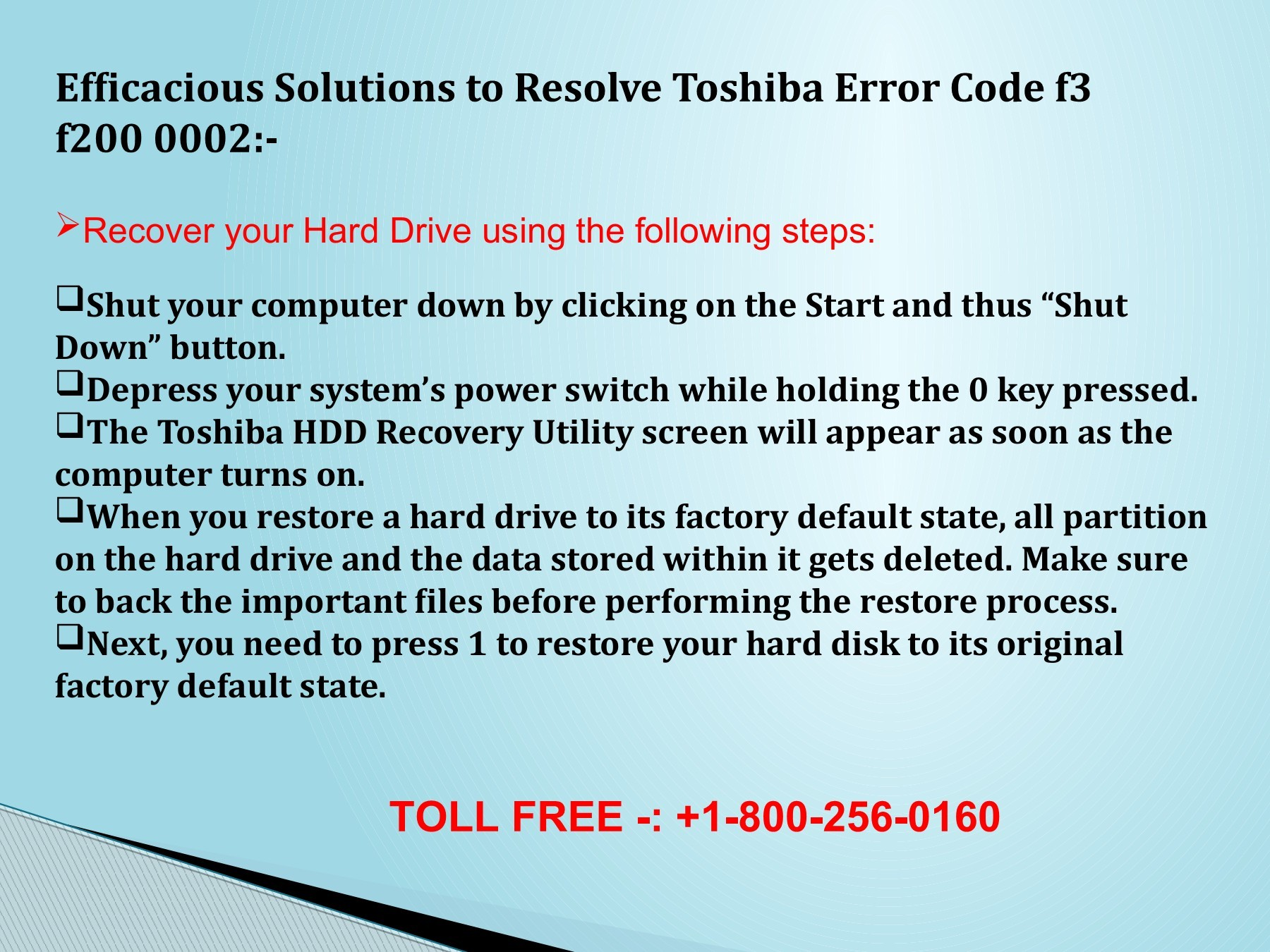 1(800) 256 0160 Resolve Toshiba Error Code f3 f200 0002?