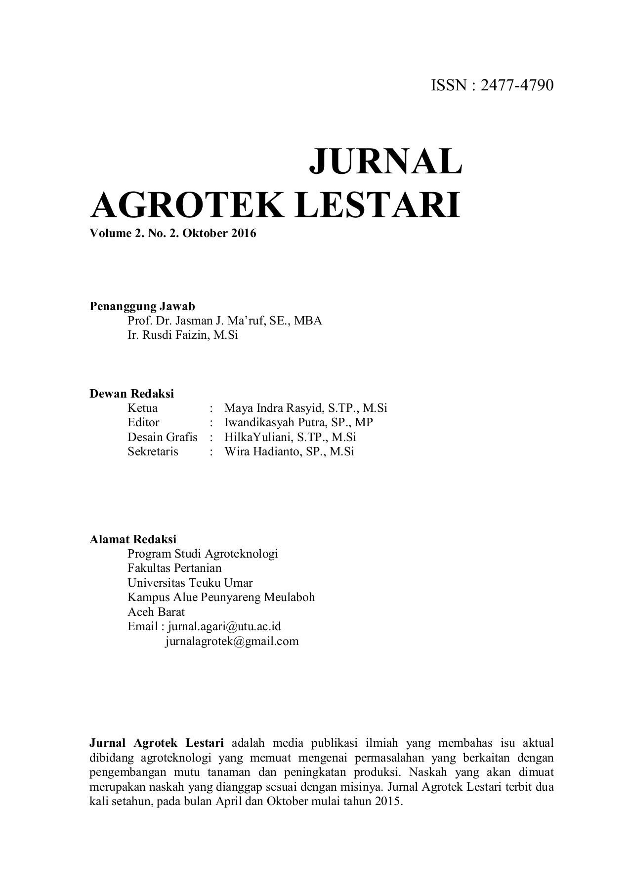 agrotek lestari vol 2, no 2, oktober 2016 pubhtml5  2 about agrotek #7