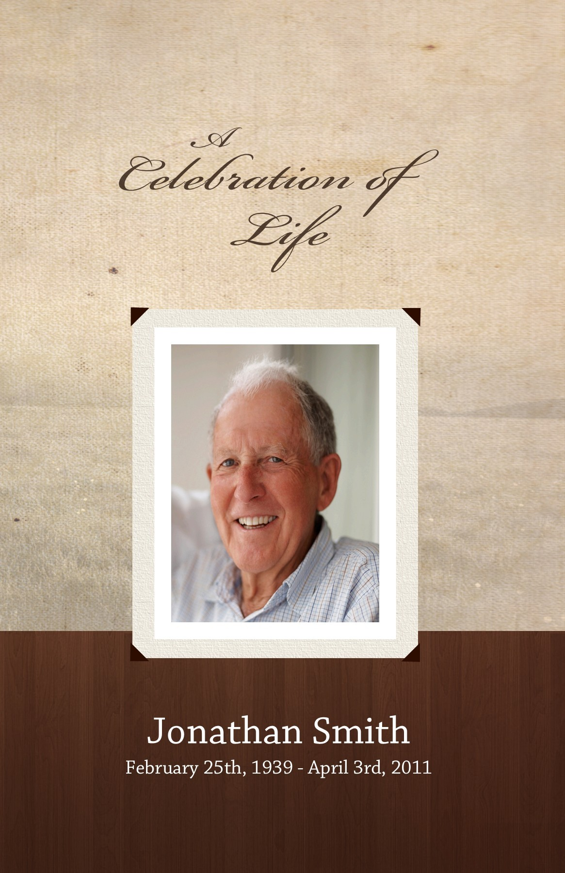 Use This 8 Page Memorial Program Design Of Our Wood Grain Background