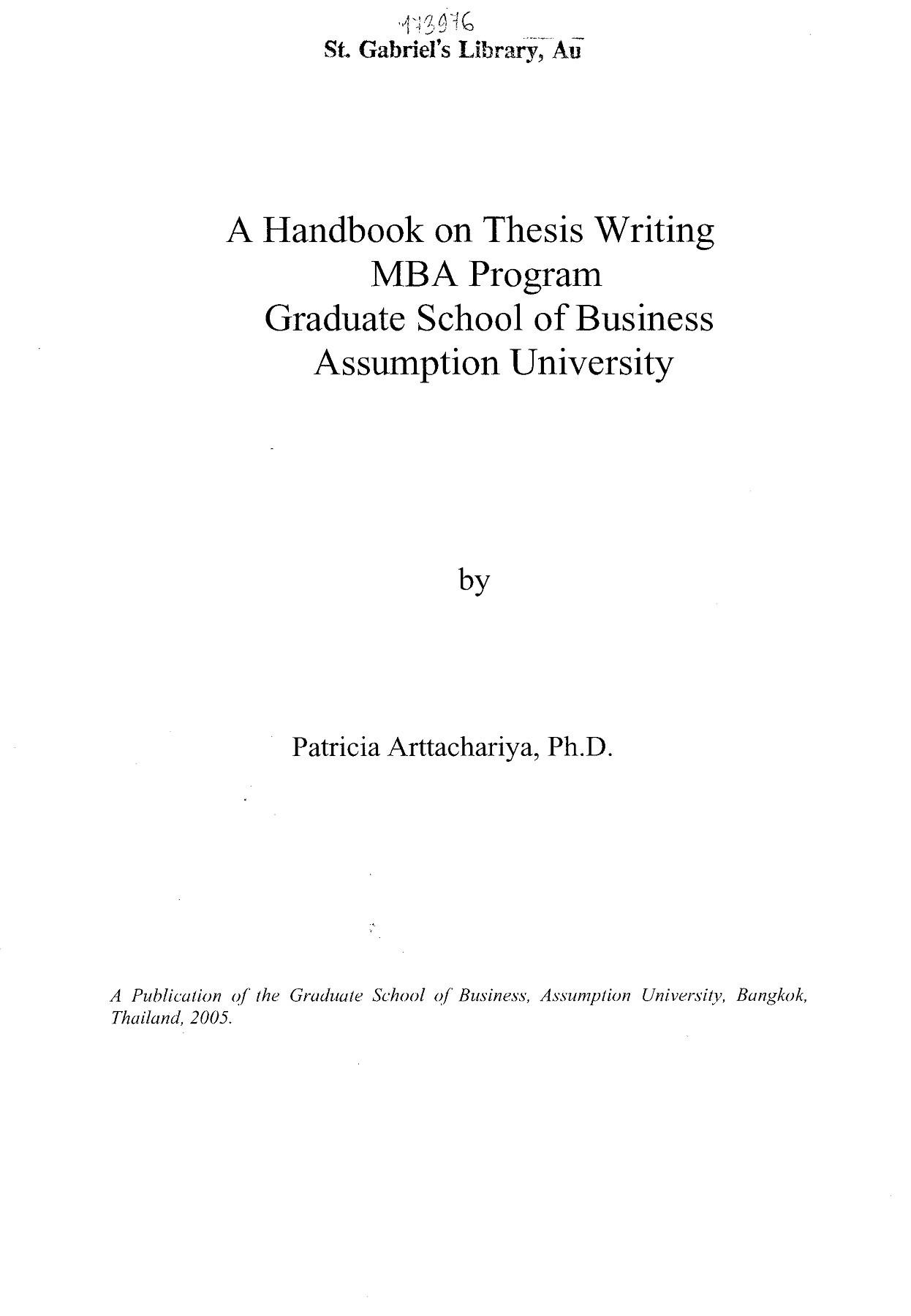 graduate school thesis examples