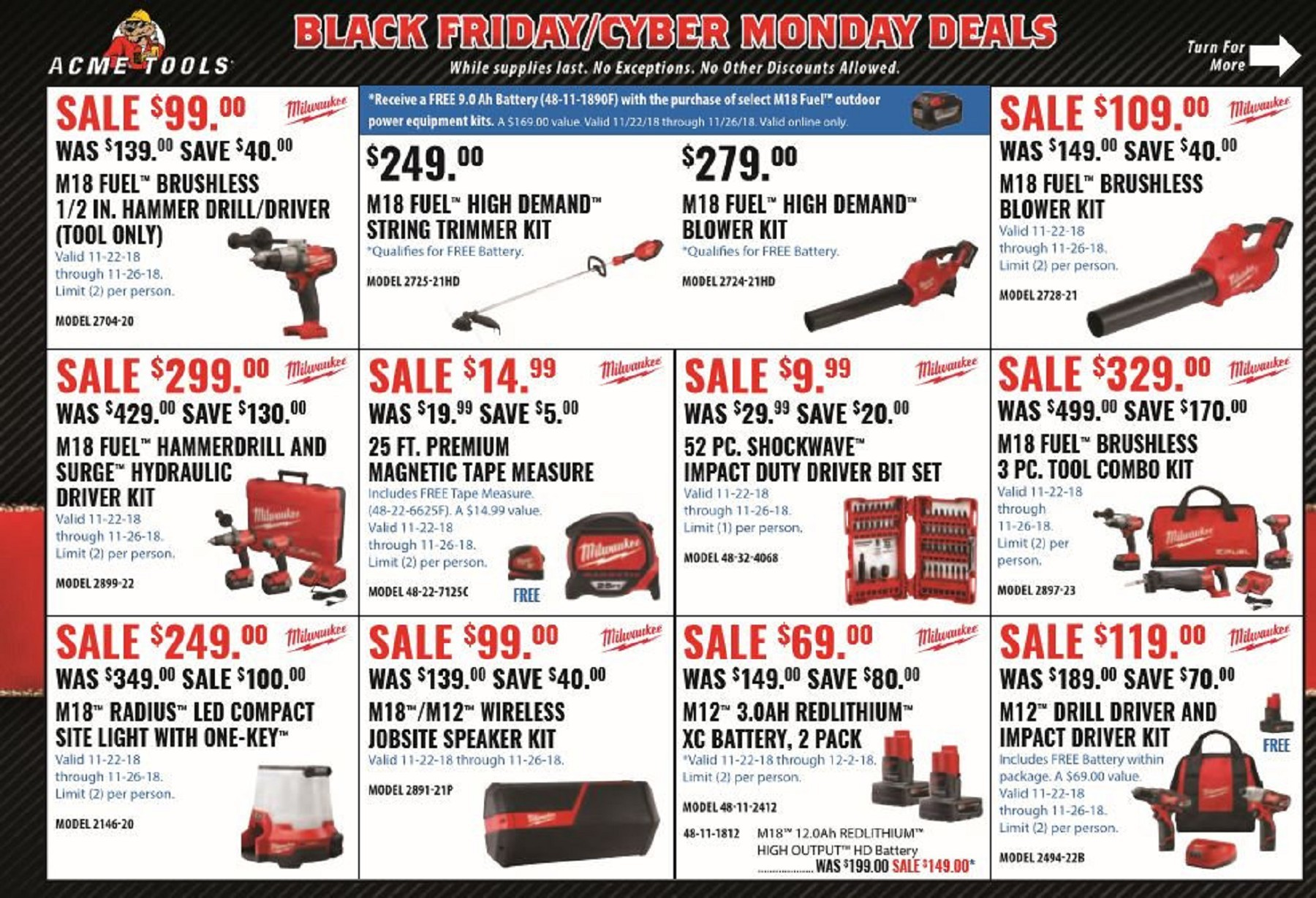 Hot Deal Acme Tools Black Friday 2018 Ad Scan With Links Tool Rank Com