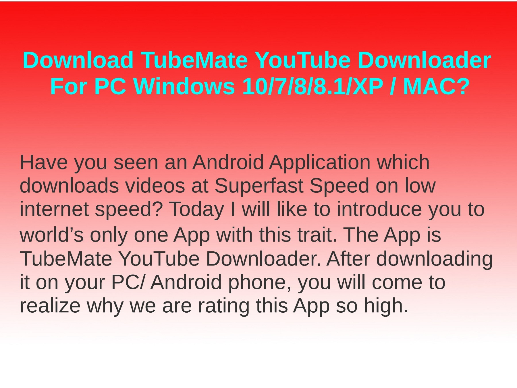 Download TubeMate YouTube Downloader for PC Windows 10/7/8