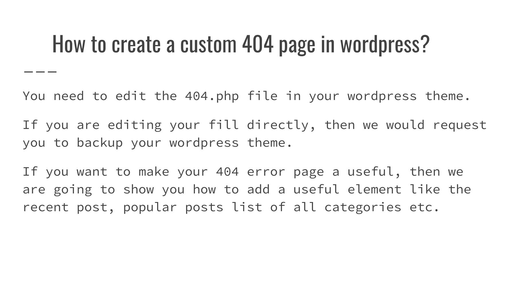 Easy way to improve your 404 page template in wordpress pubhtml5 first maxwellsz